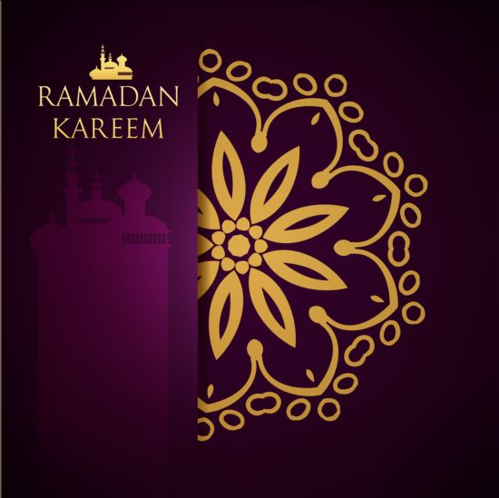 Ramadan kareem purple backgrounds vector set 27