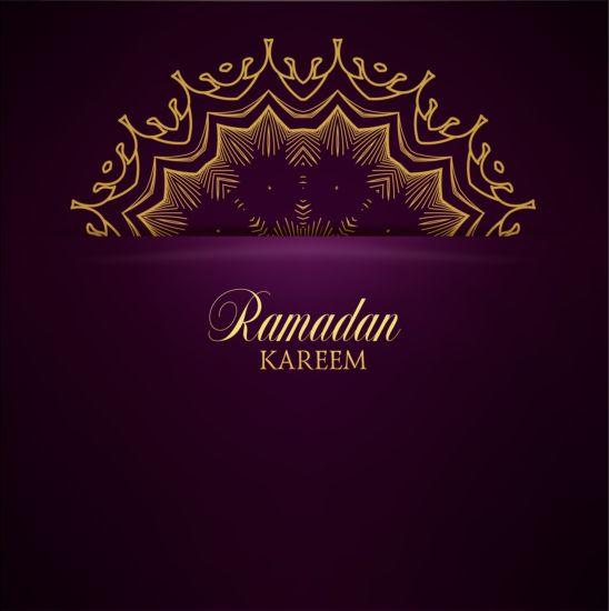 Ramadan kareem purple backgrounds vector set 36