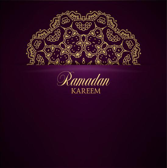 Ramadan kareem purple backgrounds vector set 35
