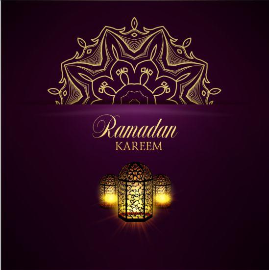Ramadan kareem purple backgrounds vector set 02