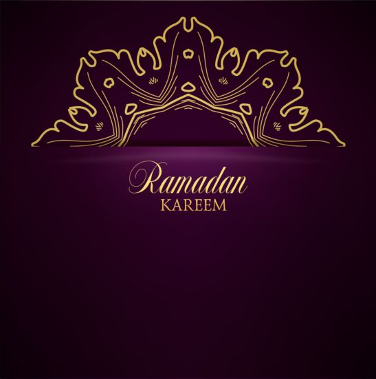 Ramadan kareem purple backgrounds vector set 01
