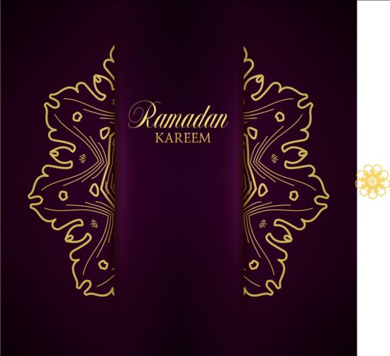 Ramadan kareem purple backgrounds vector set 03