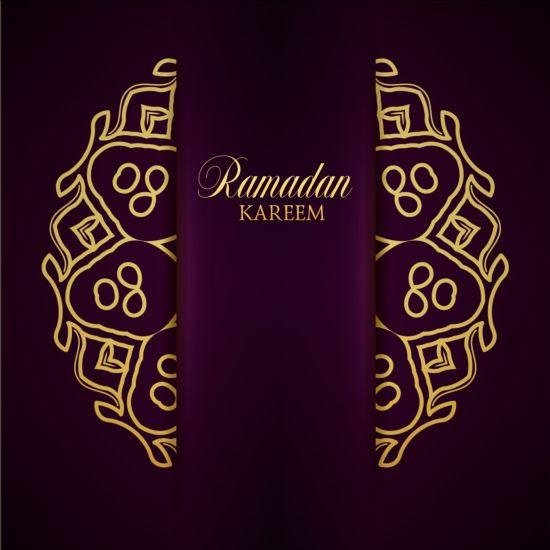 Ramadan kareem purple backgrounds vector set 04