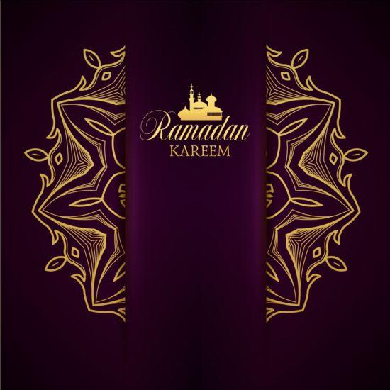 Ramadan kareem purple backgrounds vector set 14