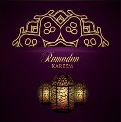 Ramadan kareem purple backgrounds vector set 16