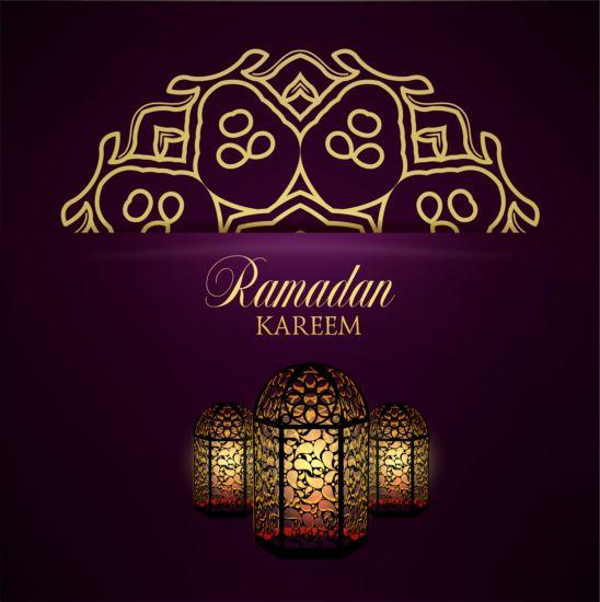 Ramadan kareem purple backgrounds vector set 16