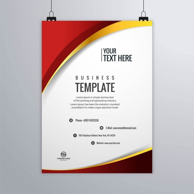 Red brochure with gold lines