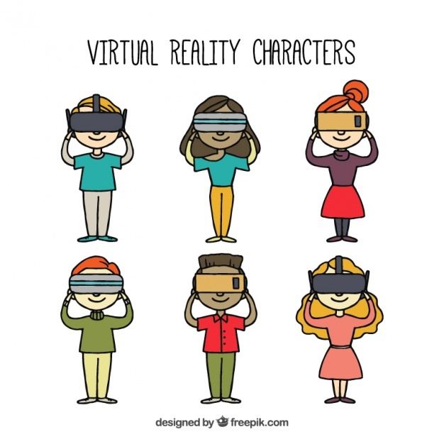 Several characters with virtual reality glasses