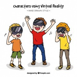 Smiling children with virtual reality glasses