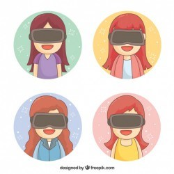 Smiling girls using virtual reality glasses with round background