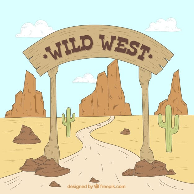 Western background with wooden sign in flat design