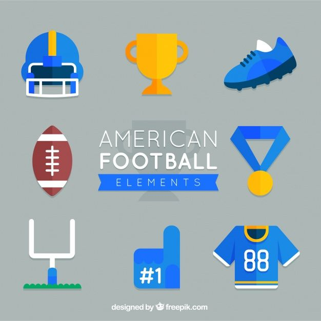 American football collection in flat design