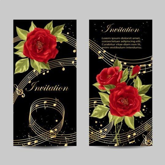 Beautiful flower with wedding invitation card vector 02
