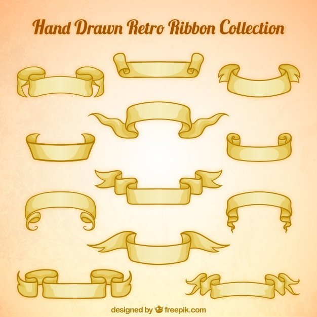 Beautiful hand drawn vintage ribbons