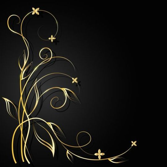 Black background with decor floral vector 02