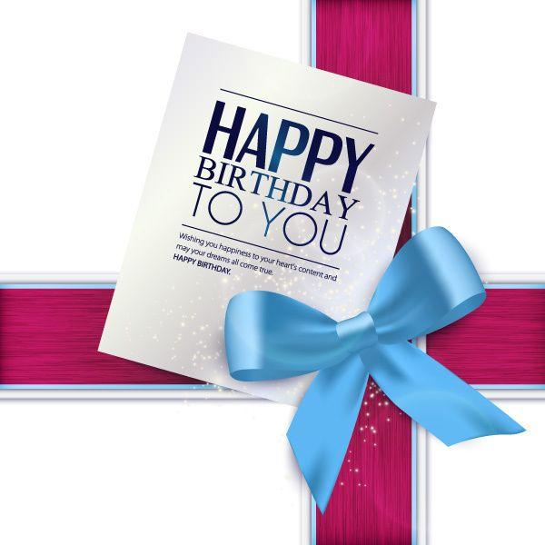 Blue bow with birthday card vector
