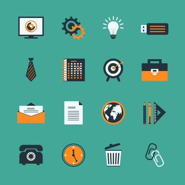Business icons with orange details