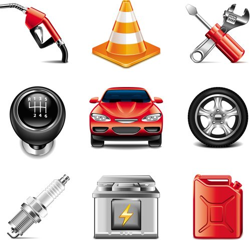 Car with tool icons set