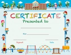 Certificate template with kids in winter at school