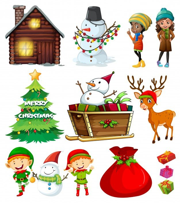 Christmas elements with tree and many characters