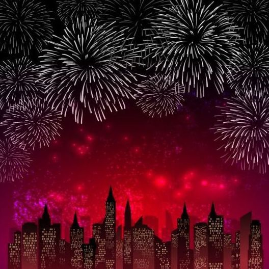City night with fireworks background vector 03