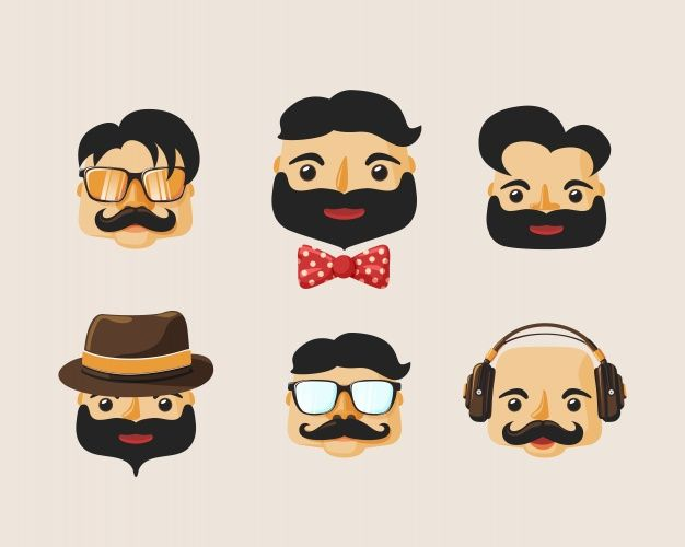 Collection of hipster men's faces