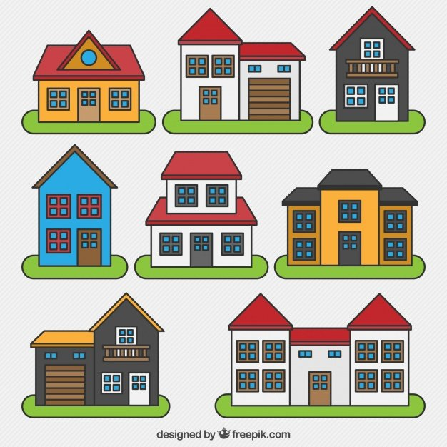 Collection of houses with different designs