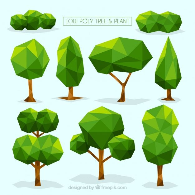 Collection of trees and shrubs in polygonal design