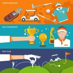 Colorful banners with golf items