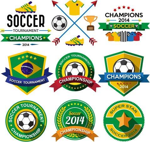 Creative soccer vector labels set
