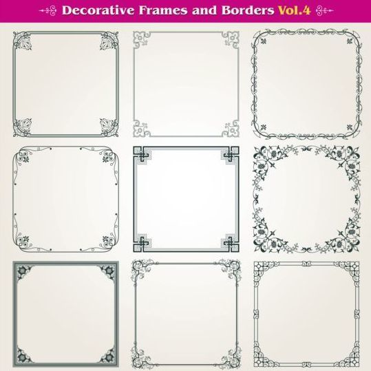 Decorative frame with borders set vector 01