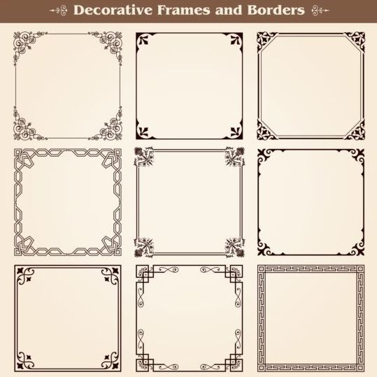 Decorative frame with borders set vector 05