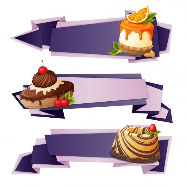 Dessert banners in origami style