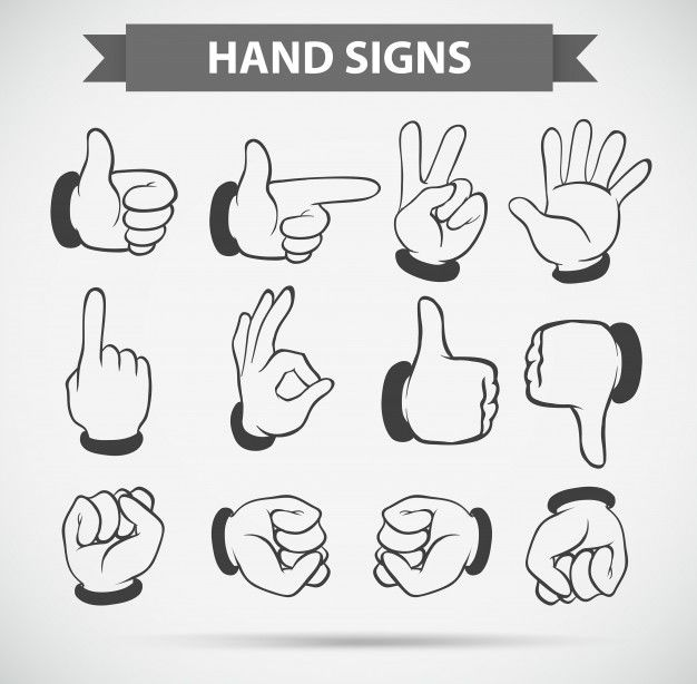 Different hand gestures on white background