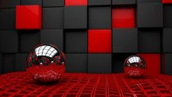 Ball, Cube, Cubes, Glass, Metal, Plastic laptop 1366×768 HD Background
