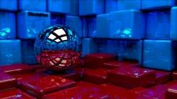 Ball, Cubes, Metal, Blue, Red, Reflection laptop 1366×768 HD Background