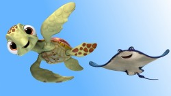 Finding dory, Crush, Turtle, Mr ray laptop 1366×768 HD Background