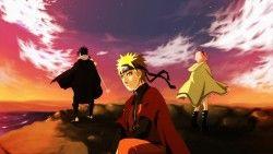 Naruto, Team of seven, Uchiha sasuke, Art, Sea, Cliff, Naruto uzumaki, Sakura haruno laptop 1366 ...