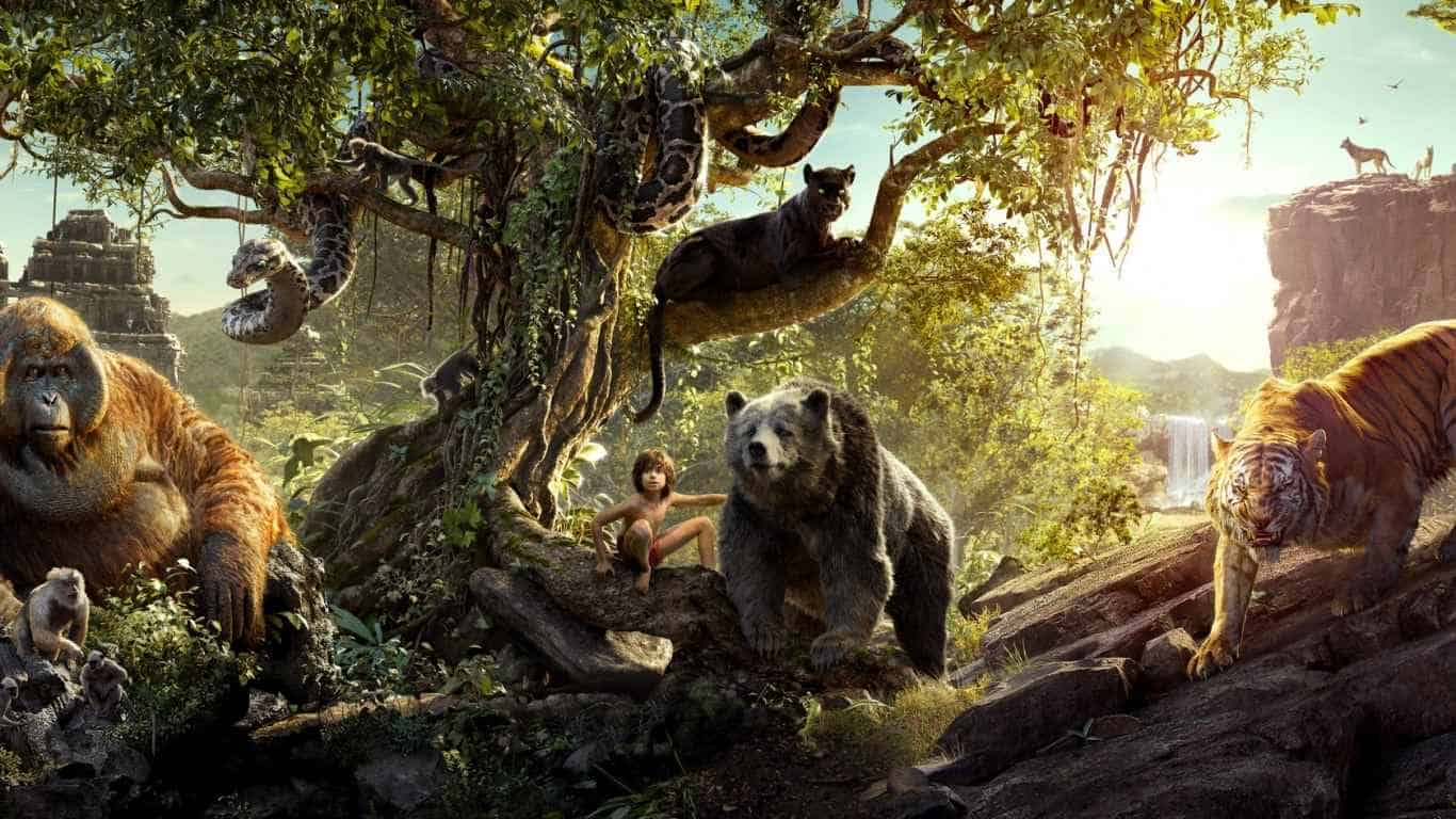The jungle book, 2016, Bear, Gorilla, Tiger, Panther laptop 1366×768 HD Background