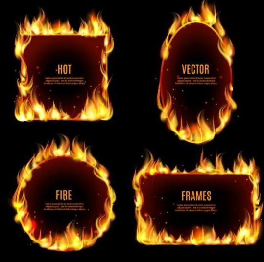 Flame fire frame vector 01