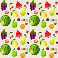 Great pattern of realistic pieces of fruit