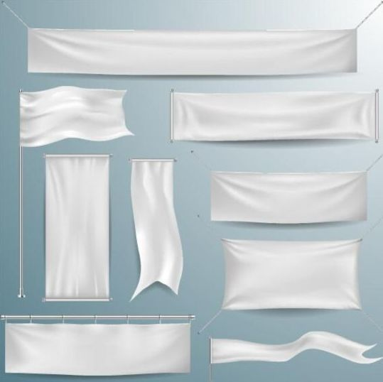 Hanging white banners vector 03