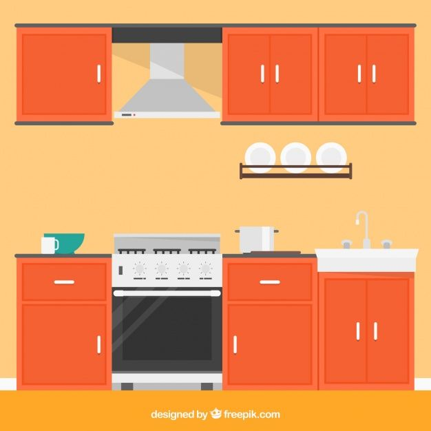 Kitchen with orange furniture