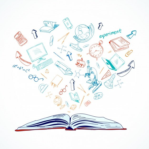 Open book background with sketches