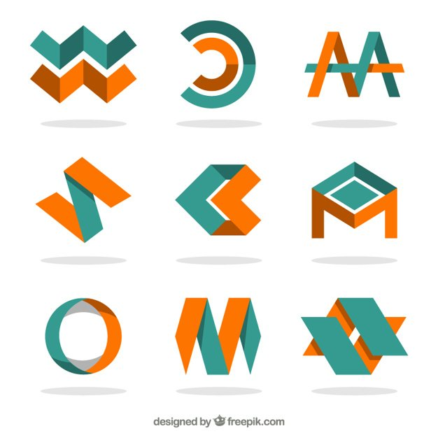 Orange and green logotypes in abstract style
