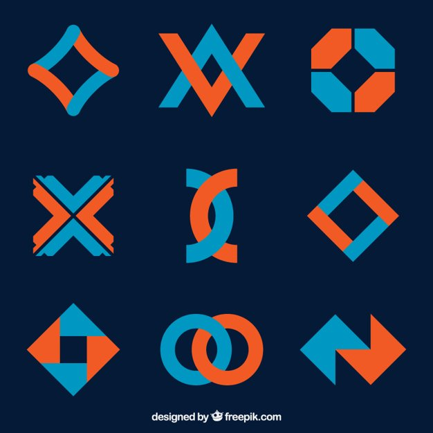 Pack of blue and orange logotypes in geometric style
