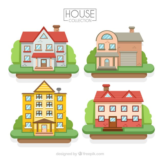 Pack of houses in flat design