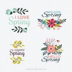 Pack of vintage spring stickers