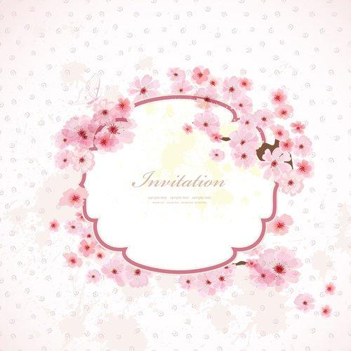 Pink flower frame wedding invitation cards