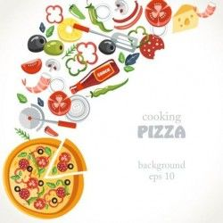 Pizza cooking background vector